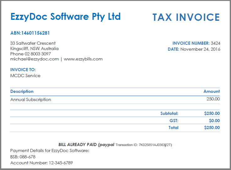 MYOB Sale Invoices (Accounts Receivable) | EzzyBills