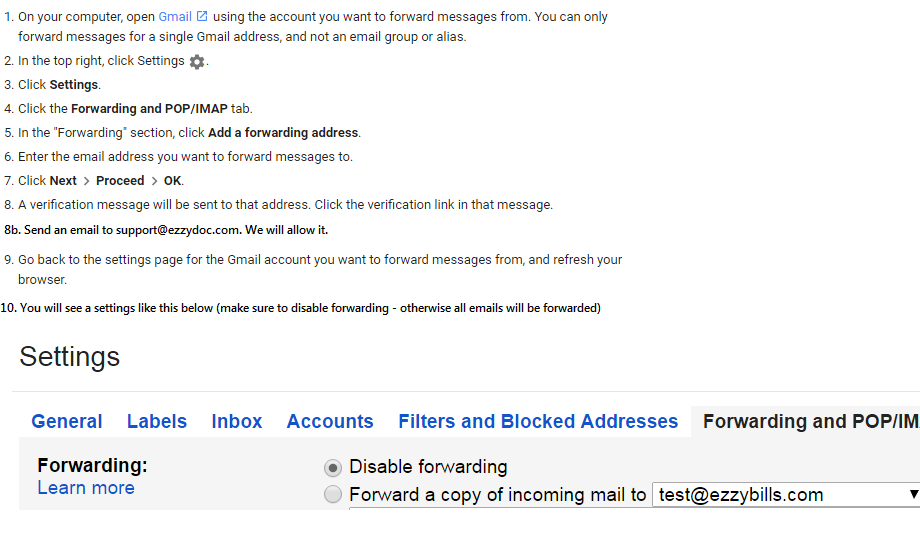 Gmail Autoforwarding With A Filter EzzyBills - Quickbooks invoicing for gmail